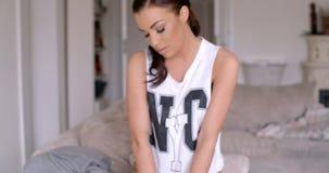 Seductive Woman Posing in Casual Sleeveless Shirt stock video
