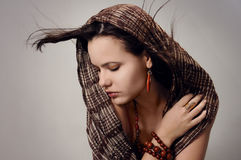 Seductive woman with scarf Royalty Free Stock Photo