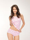 Seductive woman in shirt and panties Stock Image