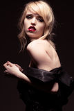 Seductive Woman Wearing Off Shoulder Black Fashion Royalty Free Stock Photography