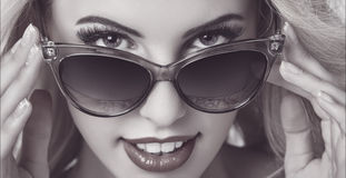 Seductive Woman Wearing Sunglasses Stock Photos