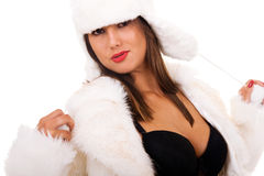 Seductive young girl in winter fur Royalty Free Stock Photo