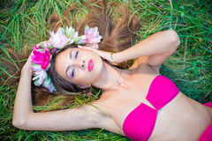 Seductive young lady in wreath with long hair Royalty Free Stock Photo
