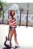 Seductive young woman outdoor fashion portrait Stock Images