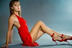Seductive young woman wearing short dress Royalty Free Stock Image