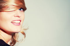 Seductress. Beautiful happy smiling blond woman Stock Images