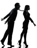 夫妇结合概念剪影的妇女seductress 免版税库存照片