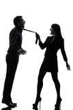 Seductress de femme de couples collant la silhouette de concept Photos libres de droits