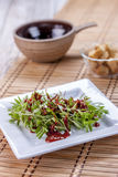 Sedum salad and red sauce. Royalty Free Stock Photos
