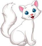 Seduta bianca sveglia del fumetto del gatto Fotografia Stock Libera da Diritti