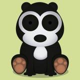 Seduta in bianco e nero sveglia dell'orso del fumetto di vettore isolata Fotografia Stock Libera da Diritti