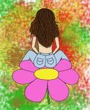Seduta castana su un fiore Immagine Stock Libera da Diritti