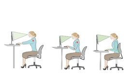 Seduta corretta ai consigli di ergonomia di posizione dello scrittorio royalty illustrazione gratis