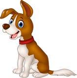 Seduta divertente del cane del fumetto isolata su fondo bianco Fotografia Stock Libera da Diritti