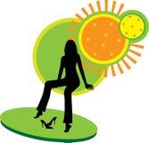 Seduta e distensione della donna. Immagini Stock Libere da Diritti