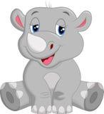 Seduta felice del fumetto di rinoceronte Fotografia Stock Libera da Diritti