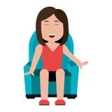 Seduta femminile sul fumetto domestico del sofà Immagine Stock