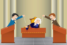 Seduta giudiziaria del fumetto (vettore, CMYK) Fotografie Stock