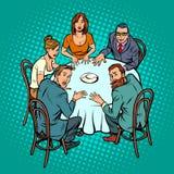 Seduta occulta, la gente alla tavola royalty illustrazione gratis