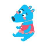 Seduta profonda del lupo degli azzurri del fumetto sveglio Illustrazione variopinta animale adorabile divertente di vettore del c Immagini Stock Libere da Diritti