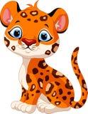 Seduta sveglia del fumetto del leopardo del bambino Immagini Stock