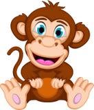 Seduta sveglia del fumetto della scimmia del bambino Fotografia Stock Libera da Diritti