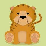 Seduta sveglia del ghepardo del fumetto di vettore piccola isolata Fotografie Stock Libere da Diritti