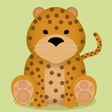 Seduta sveglia del leopardo del fumetto di vettore piccola isolata Fotografia Stock