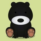 Seduta sveglia dell'orso nero del fumetto di vettore isolata Fotografia Stock Libera da Diritti
