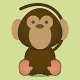Seduta sveglia della scimmia del fumetto di vettore piccola isolata Fotografia Stock Libera da Diritti