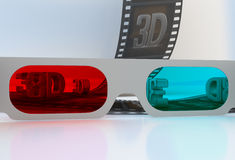 See through 3D glasses - abstract film. With symbols Royalty Free Stock Photo