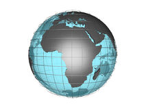 See-through 3d globe model showing Africa. 3D model of globe map showing African continent, with meridians and semi-transparent oceans, on white background with Stock Images