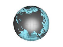 See-through 3d globe model showing Asia Stock Image