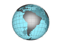 See-through 3d globe model showing South America. 3D model of globe map showing South American continent, with meridians and semi-transparent oceans, on white vector illustration