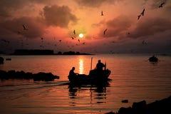 See auf dem Boot Stockbild