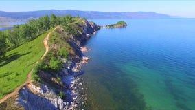 See Baikal Das felsige Kap Shamanka in Sludyanka stock video