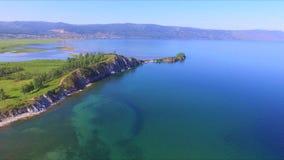See Baikal Das felsige Kap Shamanka in Sludyanka stock video footage
