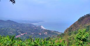 See the beach from the top of the mountain stock images