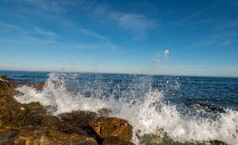 See beach with waves. And sky stock image