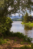 See-Bezirks-Sommerzeit mit Bergen und Bäumen Stockbild