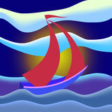 See and boat. Sailing boat floating in sea during bad weather Royalty Free Illustration