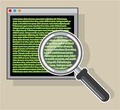 See code through magnifying glass Royalty Free Stock Photos