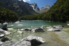 See der Mackenzie, Fiordland, Neuseeland Stockfotos