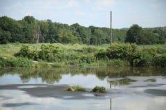 See für trocknendes Abwasser Schmutziges Abwasser in der Kläranlage Der Abfluss in der Industrie Stockfotografie
