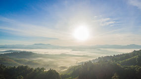 See fog in forest on hilltop. Inside the big forest there have one hilltop can see sunrise above the forest and mountains some days there have fog on the top of Stock Image