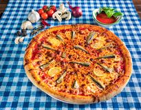 See food pizza with lemon royalty free stock photo