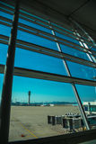 See through glass window from air port lounge view. 1 Royalty Free Stock Photos