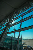 See through glass window from air port lounge view. 2 Stock Photography