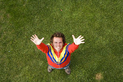 See happyness from above. A high view perspective of a young man showing his happiness Royalty Free Stock Photography