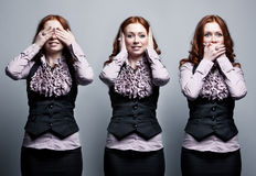 See, hear, speak no evil. Businesswoman concept Royalty Free Stock Photo